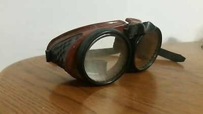 Vintage Steampunk Motorcycle, Safety Welding Goggles Bakelite Ao Coverglas