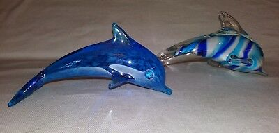 2 Art Glass Dolphin Figurines Turquoise Blue Decorative Nautical Ocean Decor Art