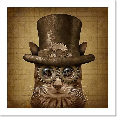 Steampunk Grunge Cat Art Print Home Decor Wall Art Poster - C