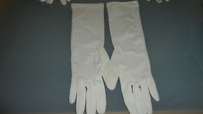 Vintage 1960's Ladies White  Evening Gloves  Embroidery Trim Size 7 C