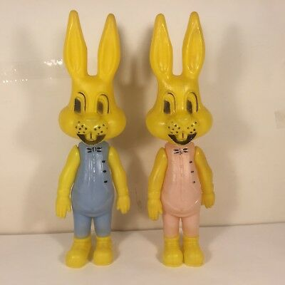 2 Vtg MCM Soft Plastic JOINTED EASTER BUNNY Rabbits Pink Blue Boy Girl HONG KONG
