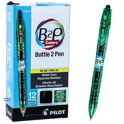 Pilot B2P Pens 36627, Bottle 2 Pen, Green Gel Ink 0.7mm Rollerball, Box of 12