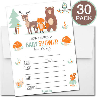 30 Baby Shower Invitations Boy or Girl (with Envelopes) - Woodland Supplies