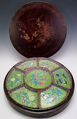 ANTIQUE 19th CENTURY CHINESE CANTON ENAMEL SWEETMEAT SERVING DISH IN LACQUER BOX