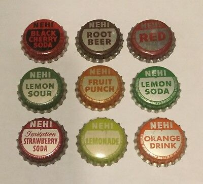 9 vintage Nehi cork lined soda bottle caps 9 different