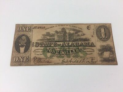 1863 $1 One Dollar Bill State Of Alabama Confederate Note Currency 2nd Series