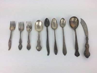 Lot of 9 Sterling Silver AND Silverplate Flatware Spoons Forks Knife Some Mono