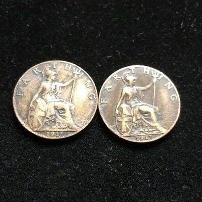 Two Nice 1917 Great Britain Farthing Coins Lot Mh6