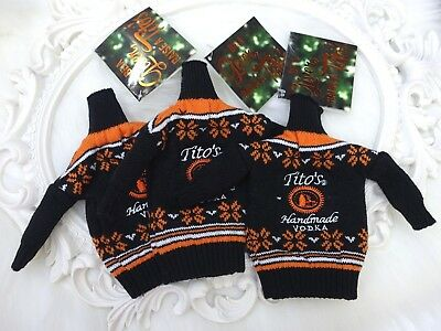 Tito's VODKA Ugly sweater bottle cover Coozie set (3) NWT