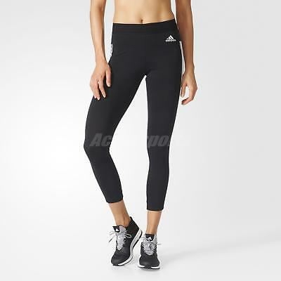 adidas Women Essential 3-Stripes Tights Sports Pants Running Black White BS4820