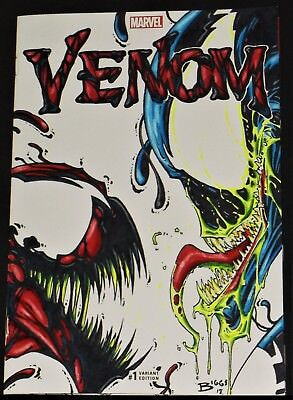 Original Art Comic Book Sketch Cover Venom #1 Carnage By Jamie Biggs Blacklight