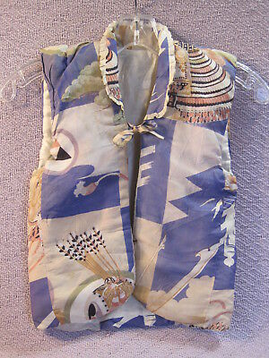Vintage CHILD'S Quilted Padded SILK JAPANESE VEST Samurai Helmet/Arrows