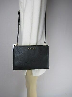 96fa34a1bc1a NWT MICHAEL KORS JET SET TRAVEL DOUBLE Gusset Crossbody Bag BLACK Leather MK  Zip