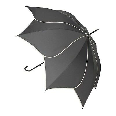 Blooming Brollies Swirl Auto Stick Umbrella - Charcoal