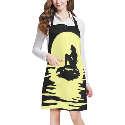 Mermaid Ariel Kitchen Apron with Pockets Fully Adjustable Working Clothing
