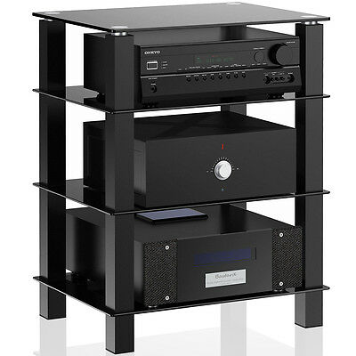 AV Equipment Tower Rack Audio Stereo TV Stand Glass Shelves Display