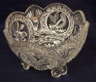 Hofbauer Crystal Punch Bowl Byrdes Collection 1980's
