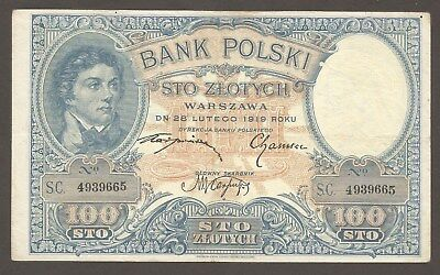 Poland 100 Zlotych 1919; VF; P-57; M-53; Military Engineer helping US Revolution