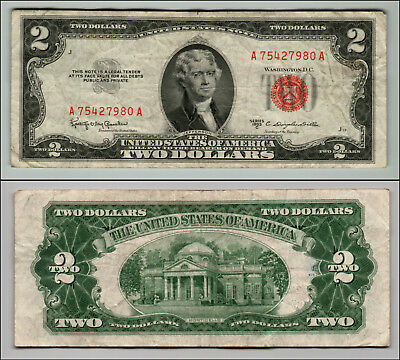 1953C $2 Dollar Bill Old Us Note Legal Tender Paper Money Currency Red Seal Z180