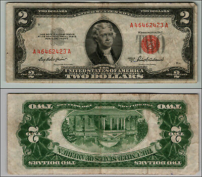 1953A $2 Dollar Bill  Us Note Legal Tender Paper Money Currency Red Seal P804