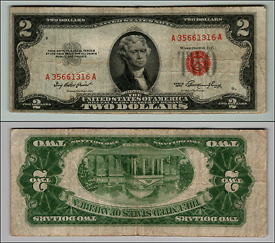 1953 $2 Dollar Bill  Us Note Legal Tender Paper Money Currency Red Seal P864