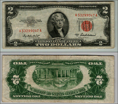 1953A $2 Dollar Bill  Us Note Legal Tender Paper Money Currency Red Seal P801