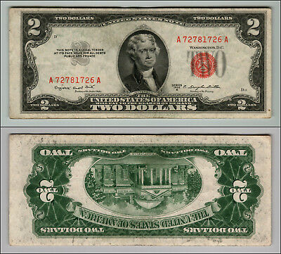 1953B $2 Dollar Bill Old Us Note Legal Tender Paper Money Currency Red Seal P694