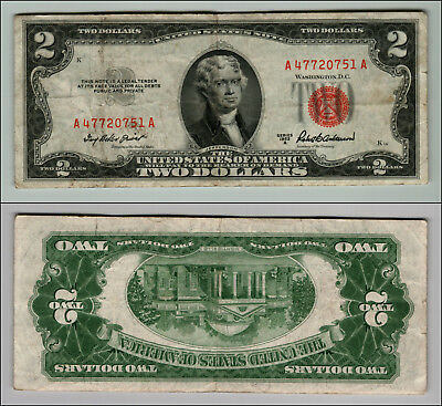 1953A $2 Dollar Bill  Us Note Legal Tender Paper Money Currency Red Seal P803