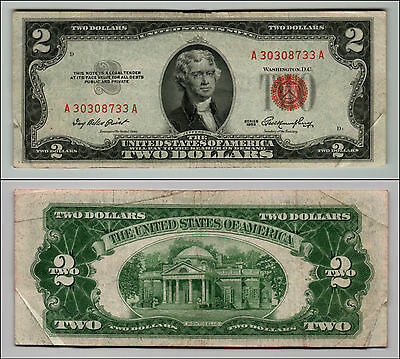 1953 $2 Dollar Bill Old Us Note Legal Tender Paper Money Currency Red Seal Q623