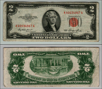 1953 $2 Dollar Bill Old Us Note Legal Tender Paper Money Currency Red Seal P125