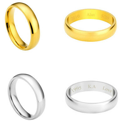 Men Women Personalised Text Engraved Couple Steel Promise Wedding Band Rings