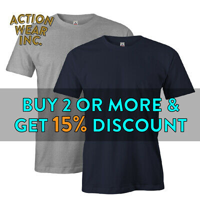 Aaa Alstyle 1301 Mens Plain Short Sleeve T Shirt Basic Cotton Tee Comfort Active