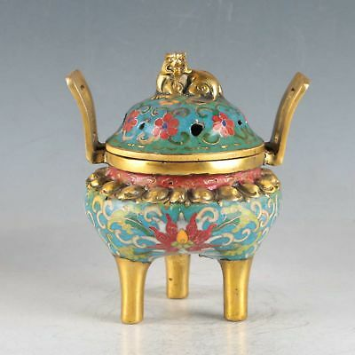 Chinese Cloisonne Handmade Tiger Incense Burner DY507
