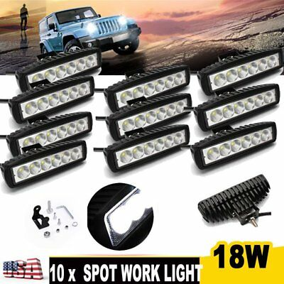 10X18W LED Work Light Bar Spot Beam Off road Driving Fog Lamp Truck 4WD  ATV SUV