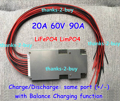 20S 60V 90A BMS PCM Protection PCB for LiFePo4 18650 Battery With BALANCE charge