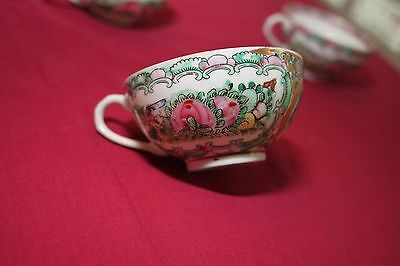 Rare Vintage Chinese Famille Rose Cups with Handle, Vibrant Embossings