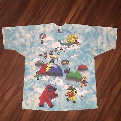 Vtg 90's 1993 GDM Grateful Dead Para Bears Tie Dye Shirt XL Liquid Blue