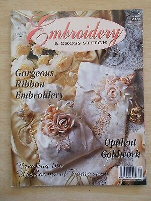 Embroidery & Cross Stitch Vol 4 #3~Ribbon~Goldwork~Brazilian Hearts~Two For Tea