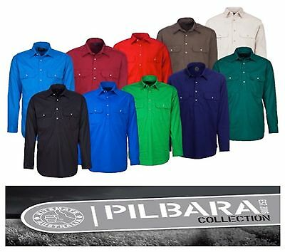 Ritemate Pilbara Closed Front Long Sleeve Mens Work / Dress  Shirt  Rm200Cf
