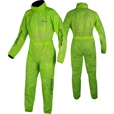 Motorcycle Motorbike Waterproof Full Body One 1 pc Rain Over Suit fluo