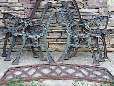 6 x vintage cast iron outdoor garden bench seat chair ends. 3 pairs