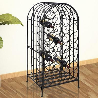 Metal Wine Cabinet Rack Stand 35-Bottles Display Storage Home Bar Lockable B8N7