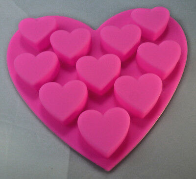 Silicone Chocolate Jelly Soap Melts Muffins Cookies '10 cavitys of Hearts mould