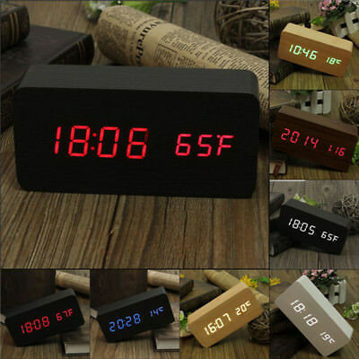 Electronic Digital Wood LED Alarm Clock Sounds Control Temperature Desk Decor