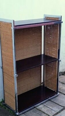 Genuine Retro 1970s Chrome and Rattan Shelving Unit, Attractive, substantial