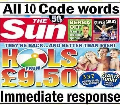 The Sun Holidays Booking Codes £9.50 ALL 5 Token Code Words *Fast Response*