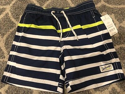 NWT Carter's Boys Swimsuits Trunk Size 5T Yellow Blue Striped Beach Kids UPF 50+