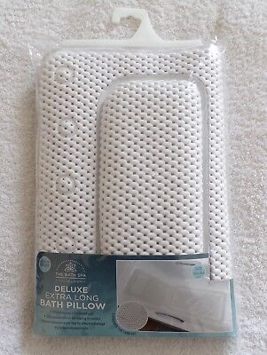Deluxe Extra Long Bath Pillow 124 x 35 cms Suction Cups Cushioned Bath Spa New