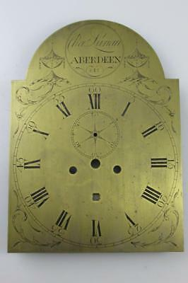 ANTIQUE SCOTTISH LONGCASE CLOCK DIAL exquisite engraved brass CHARLES LUNAN