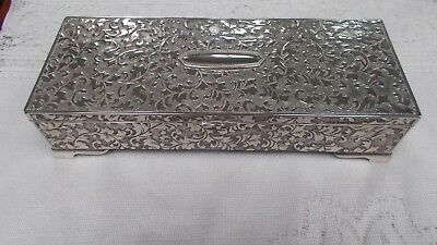 Vintage Silver Plated Ornate Jewellery Ring Box 23 cms